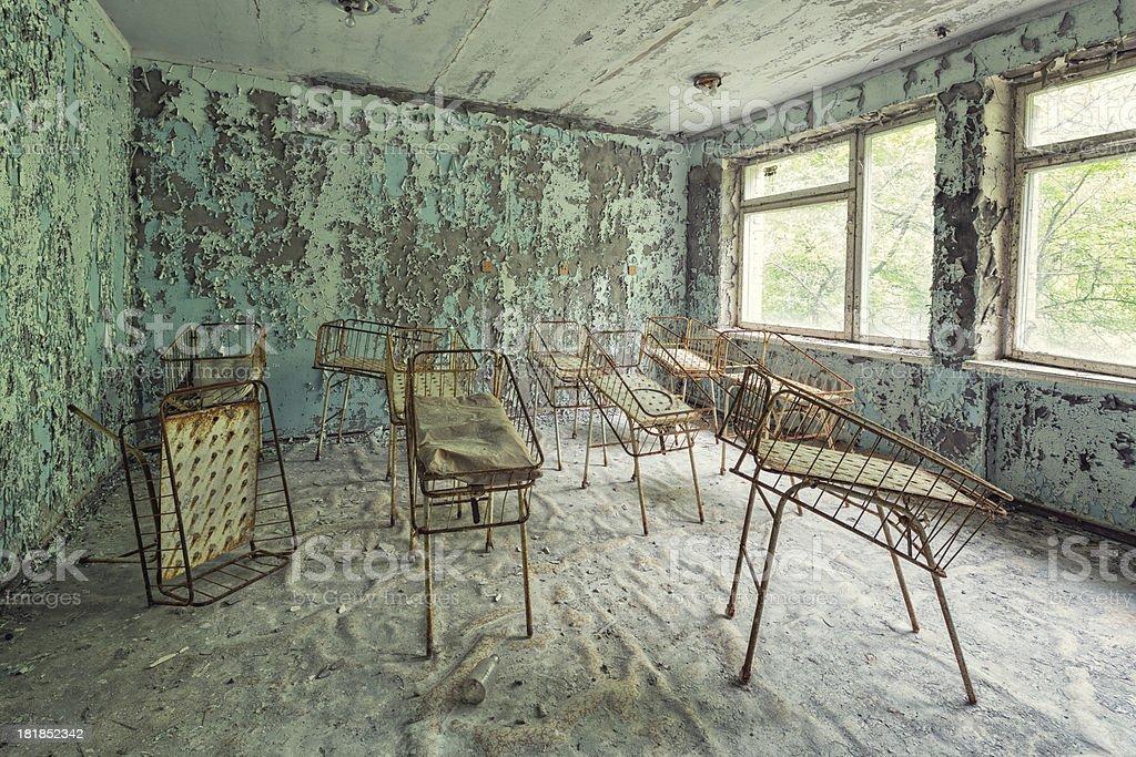 Neonatal Unit of an Abandoned Hospital, Pripyat, Chernobyl, Ukraine stock photo