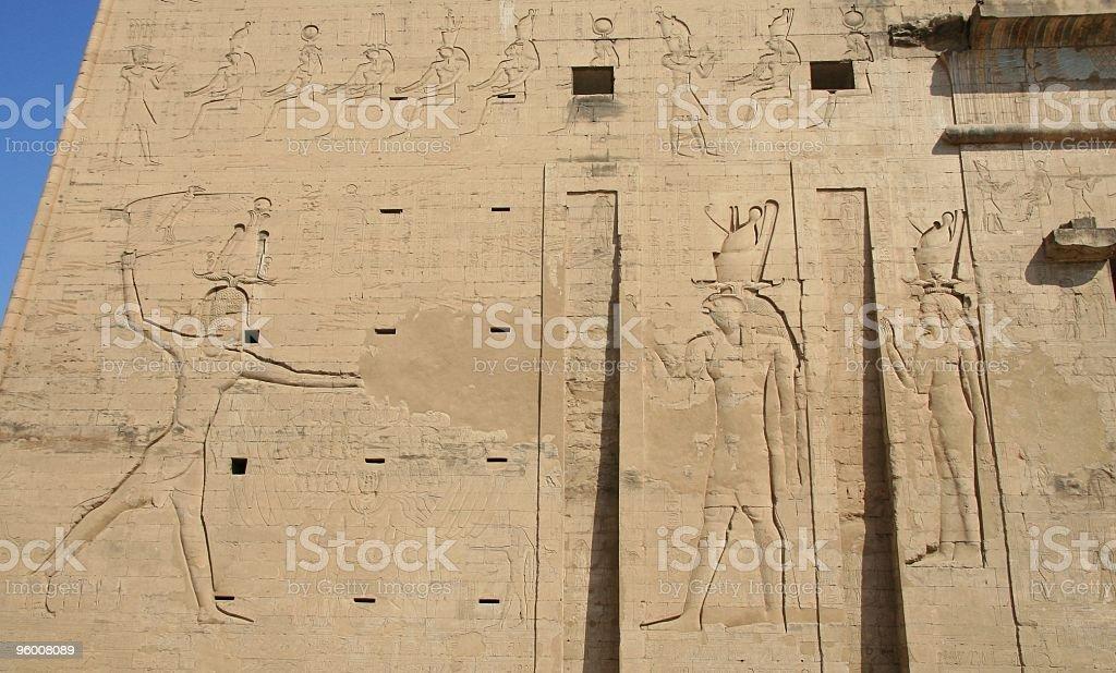 Neos Dionysos (Ptolemy XII) Relief, Temple of Horus, Edfu, Egypt stock photo