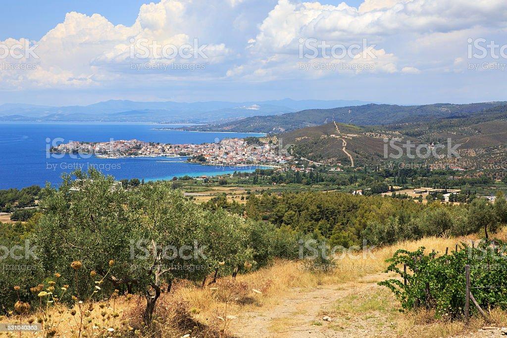 Neos Marmaras on the Aegean coast. stock photo