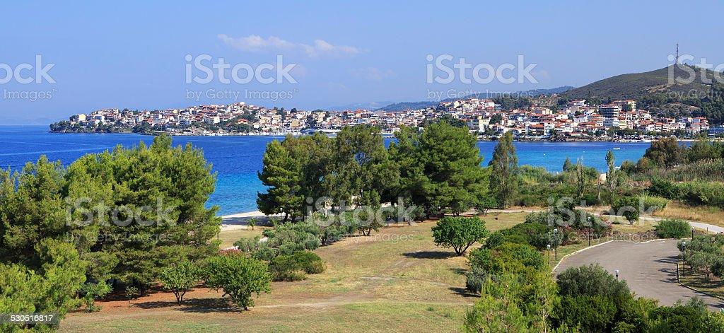 Neos Marmaras (view from the hotel Porto Carras Sithonia). stock photo