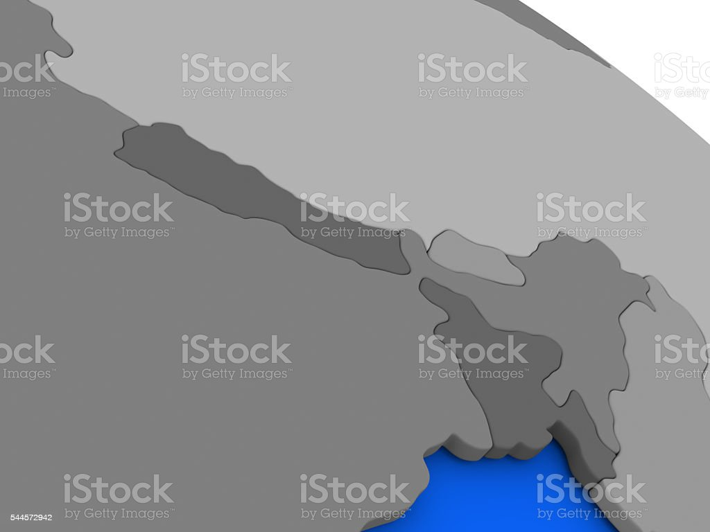 Nepal and Bhutan on political Earth model stock photo