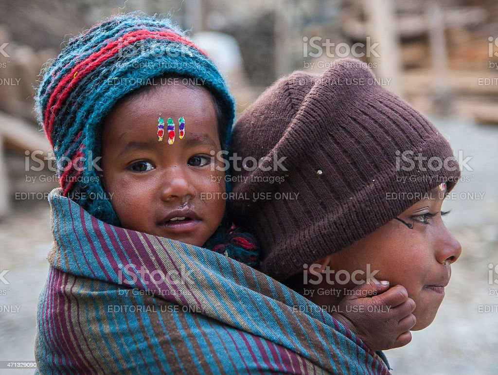 Nepal child care for children stock photo
