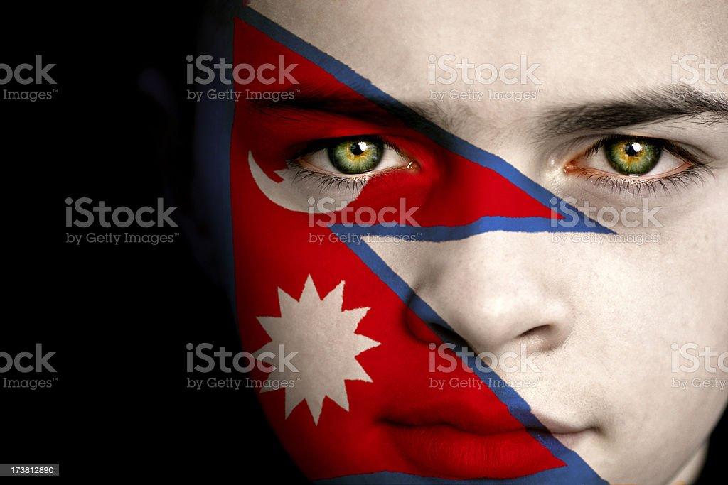 Nepal flag boy stock photo