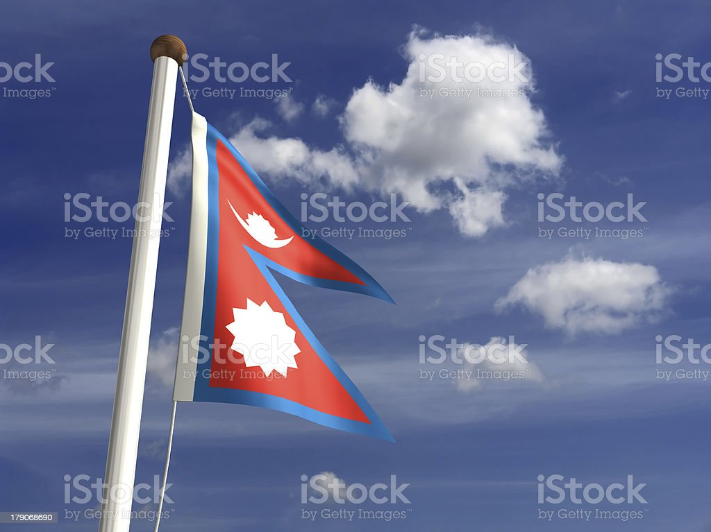 Nepal flag (with clipping path) stock photo
