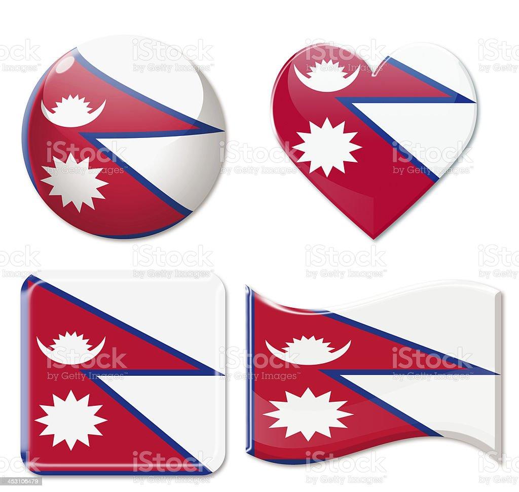 Nepal Flags & Icon Set stock photo
