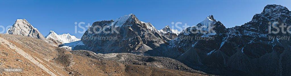 Nepal high altitude trail remote mountain pass peaks pinnacles panorama royalty-free stock photo