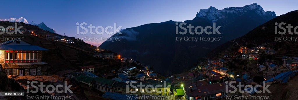 Nepal high mountain sunset Himalaya Sherpa village panorama Namche Bazar stock photo