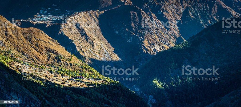 Nepal Himalaya Sherpa mountain villages in steep Khumbu valley panorama stock photo