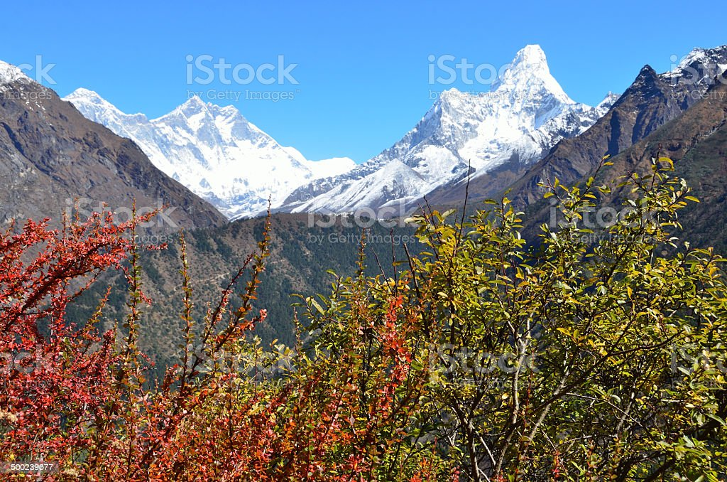 Nepal, Himalayas,views of the peaks of Lhotse and Ama Dablam stock photo