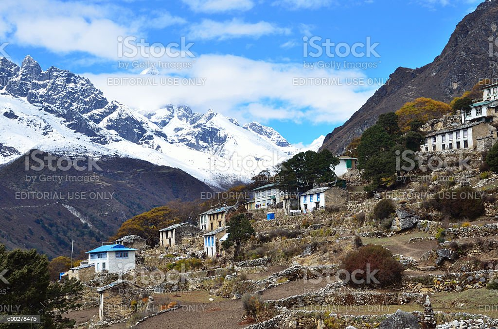 Nepal Scene: Nobody, Fortze Tenga village in the Himalayas stock photo