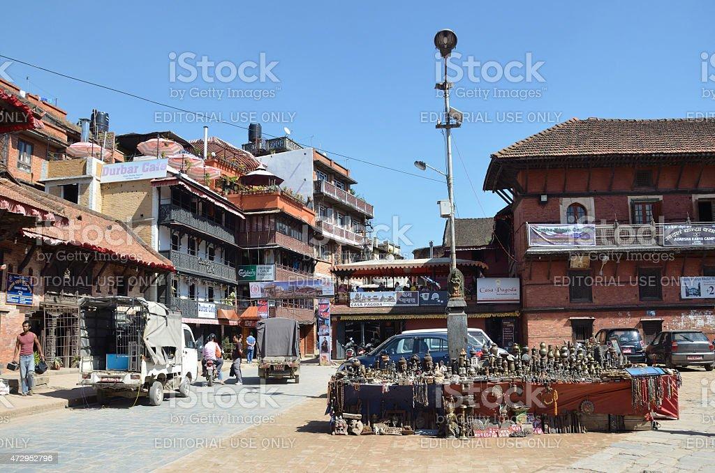 Nepal scene: People walking in historic center of Patan stock photo