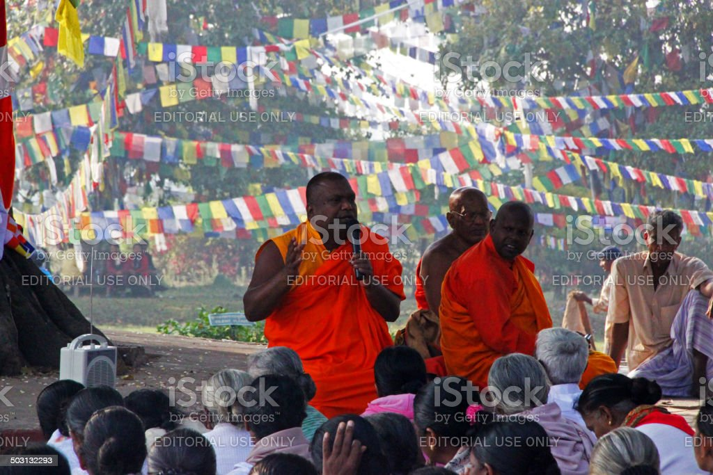 Nepal: Sermon at Lumbini stock photo