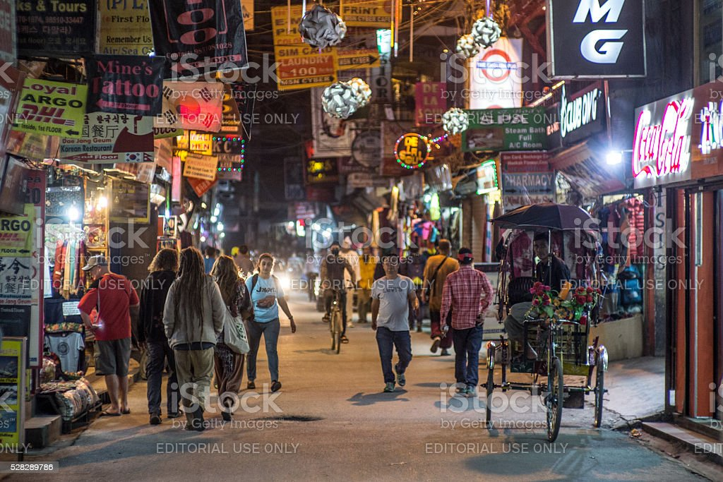 Nepal_Kathmandu_night stock photo
