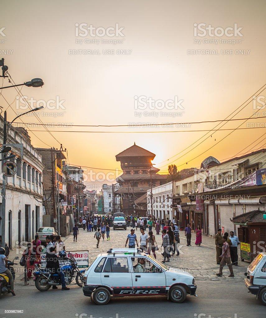Nepal_Kathmandu_Sunset stock photo