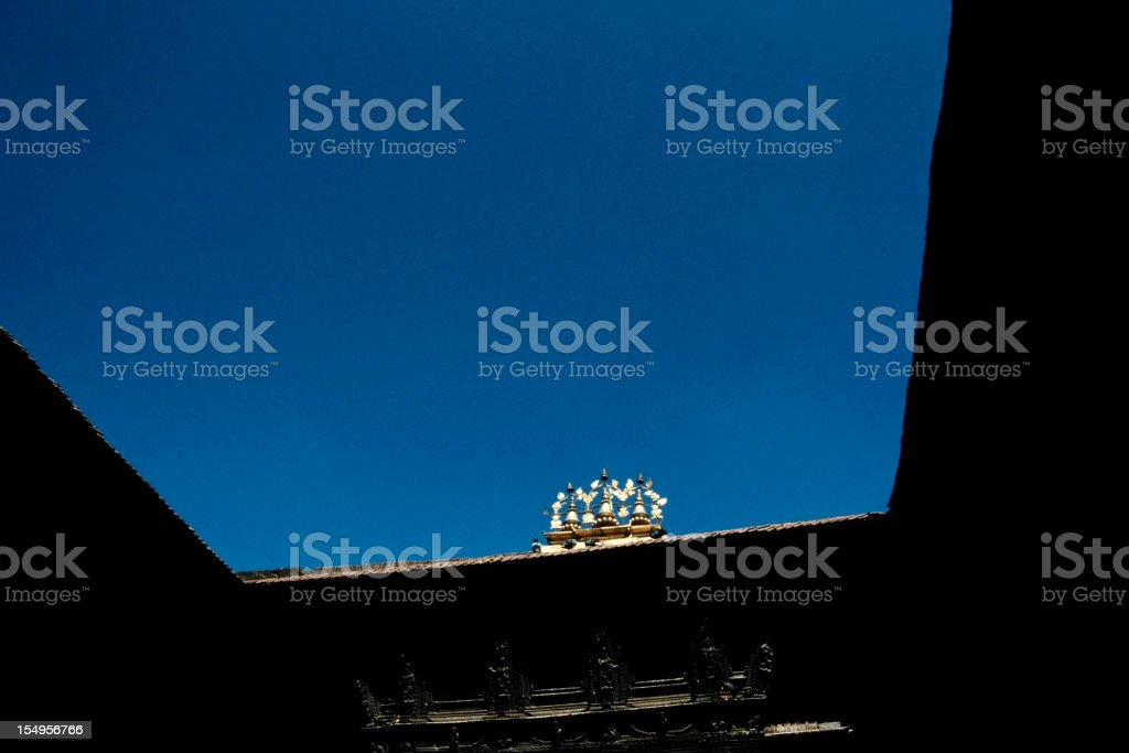 Nepalese blue sky and symbol,Kathmandu, Nepal royalty-free stock photo