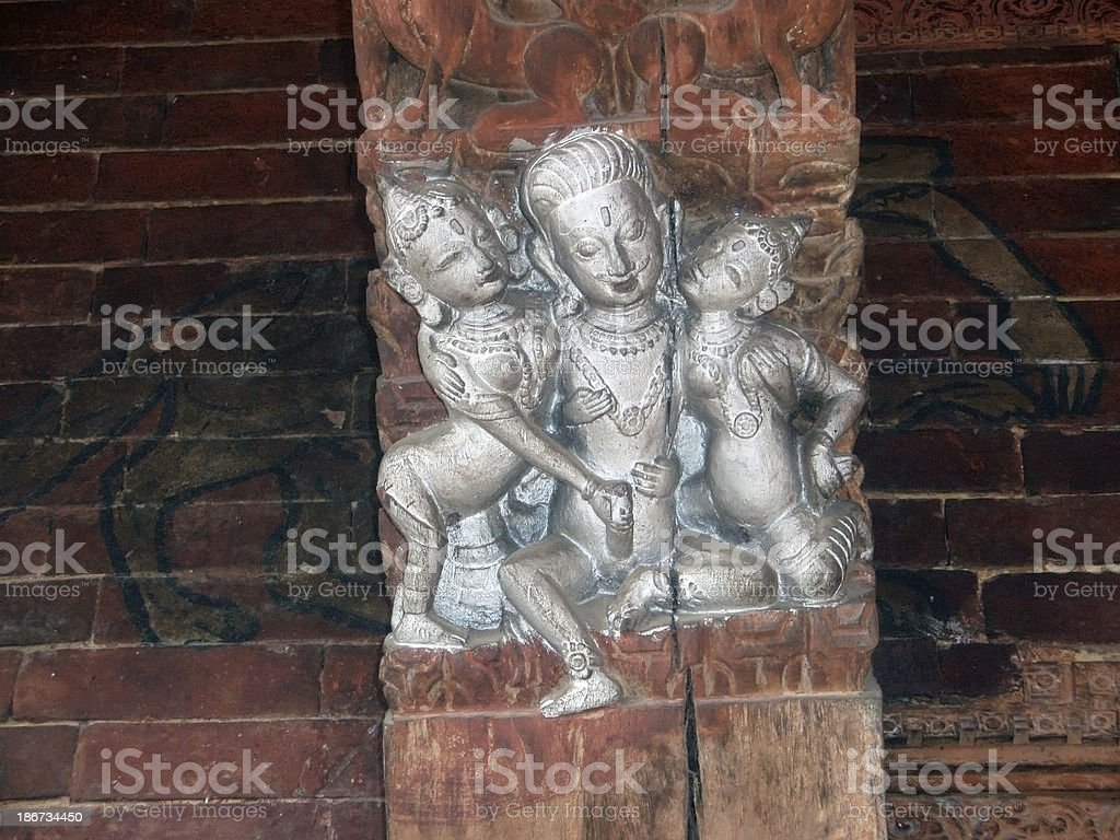 Nepalese Erotic Carving stock photo