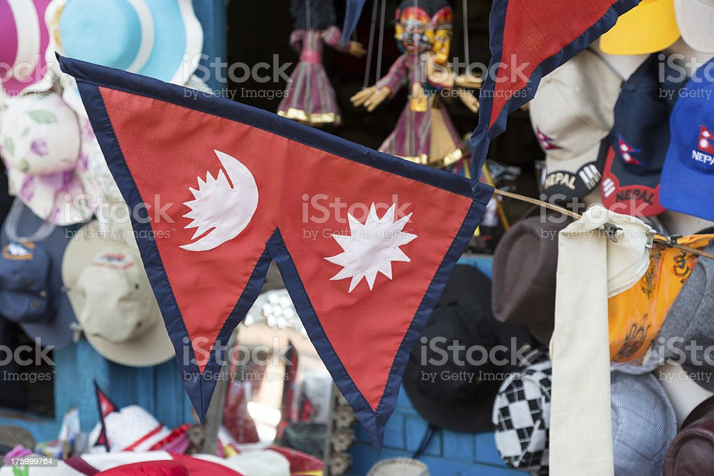 Nepalese flag in a market, Nepal stock photo