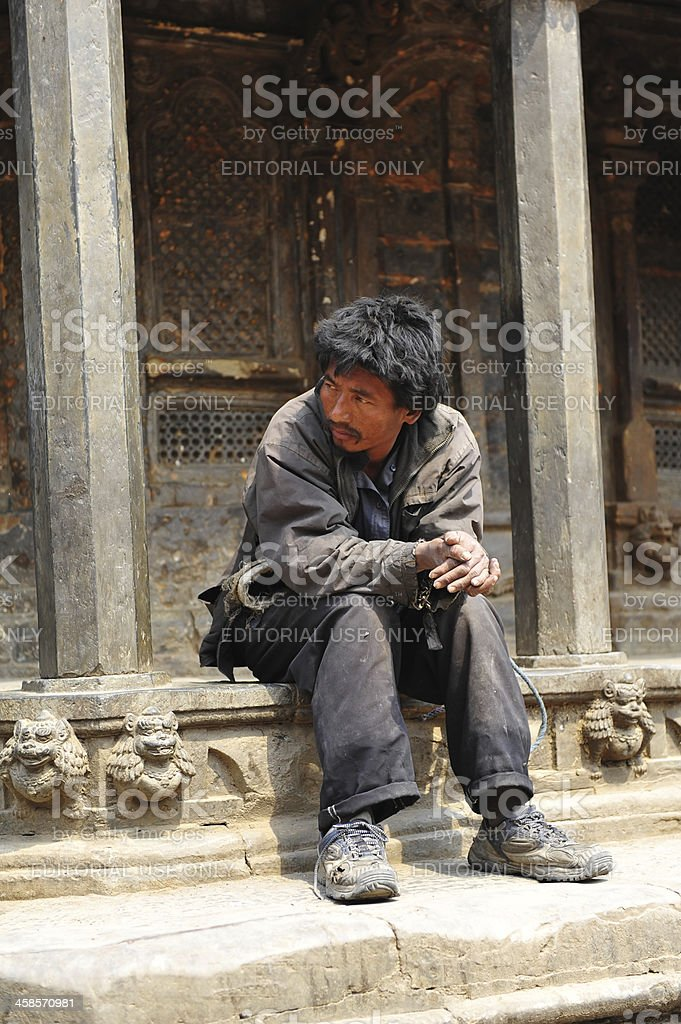 Nepalese in Patan Durbar Square royalty-free stock photo
