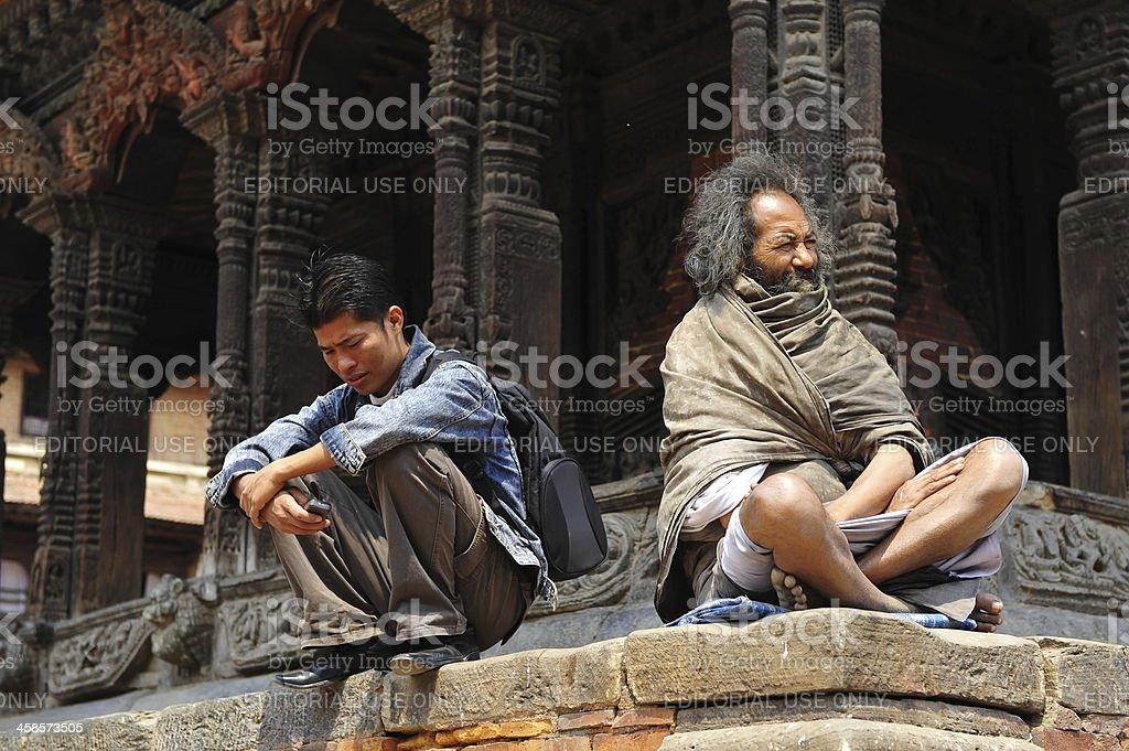 Nepalese in Patan Durbar Square stock photo