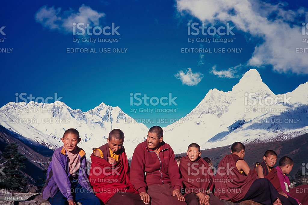 Nepalese monks stock photo