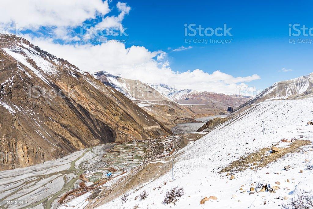 Nepalese mountain  landscape, Amadablam stock photo