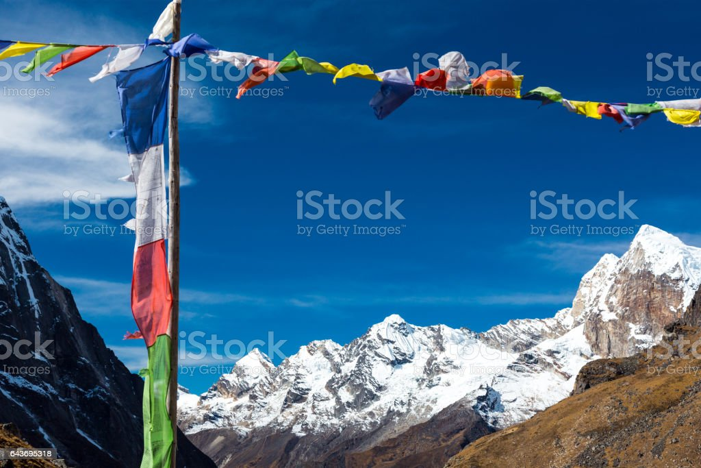 Nepalese Prayer Flags in Himalaya Mountains stock photo