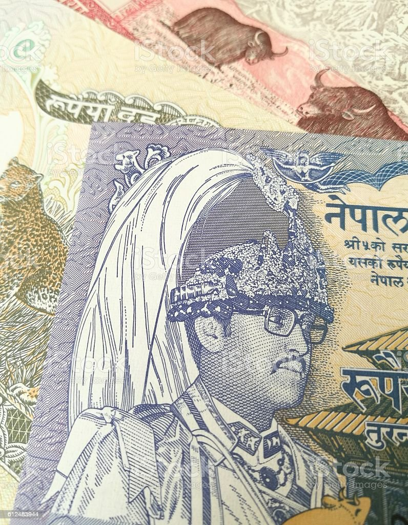 Nepalese rupee, close up of Nepal paper bank note money stock photo