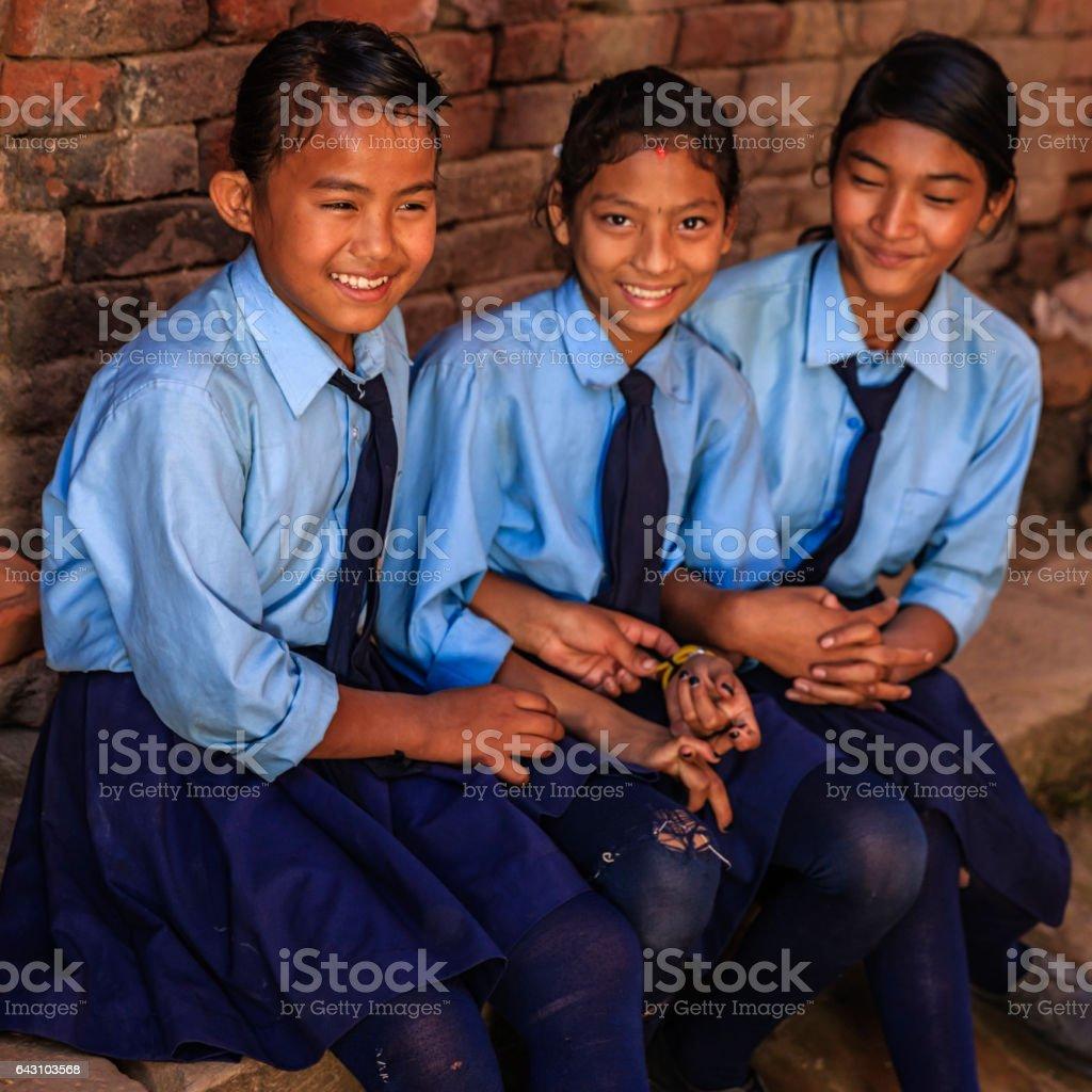 Nepalese schoolgirls in Bhaktapur, Nepal stock photo