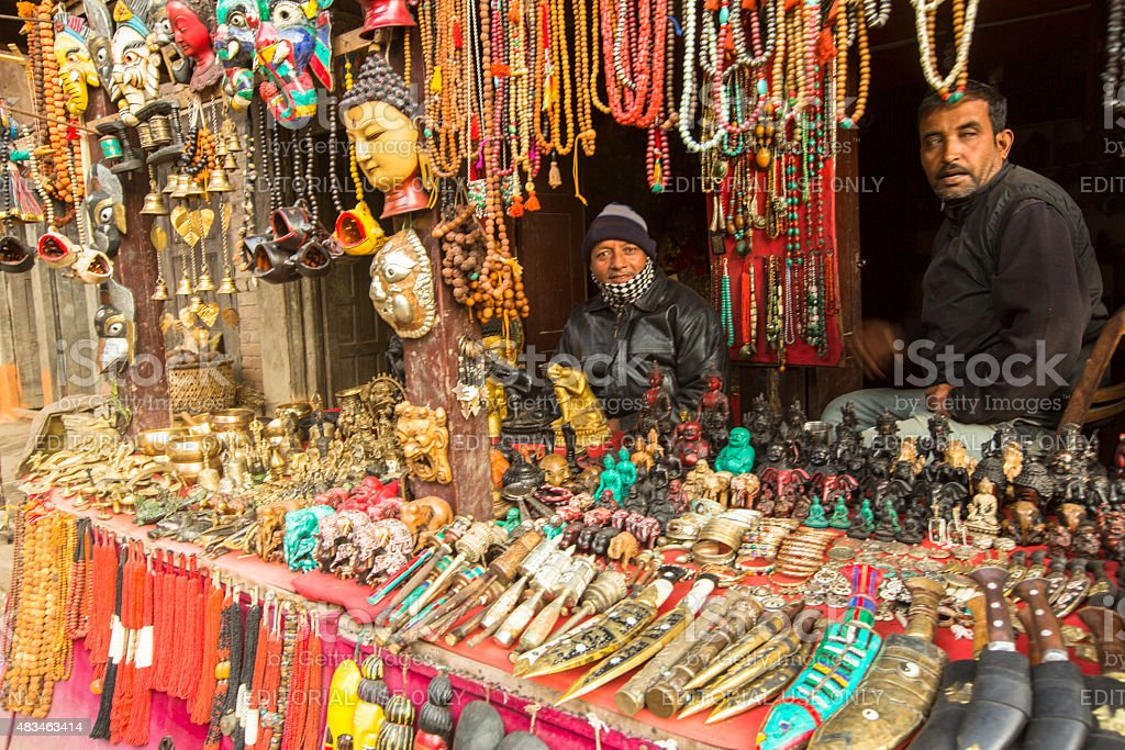 Nepalese sellers souvenirs stock photo