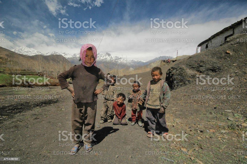 Nepalese village children's smiling Muktinath Nepal stock photo
