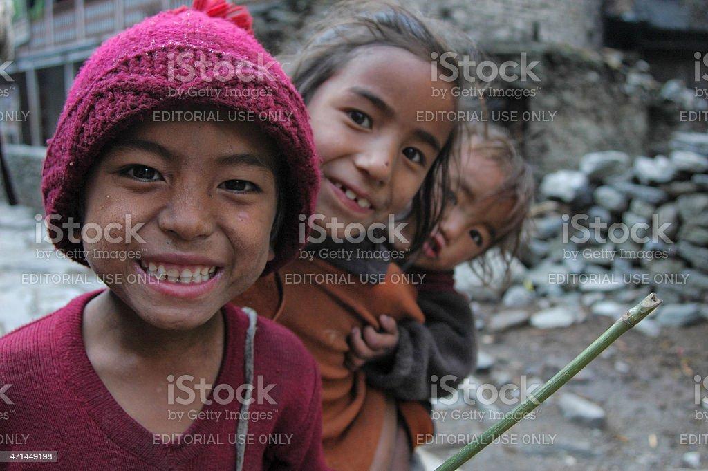 Nepalese village childrens smiling stock photo