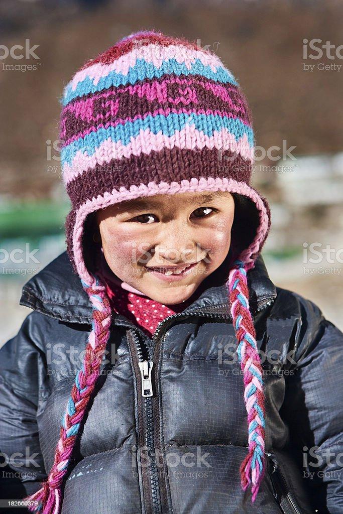 Nepali boy, Khumjung village royalty-free stock photo