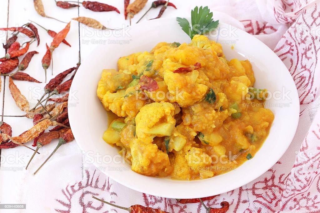 Nepali cuisine Gobi aloo, Cauliflower curry stock photo