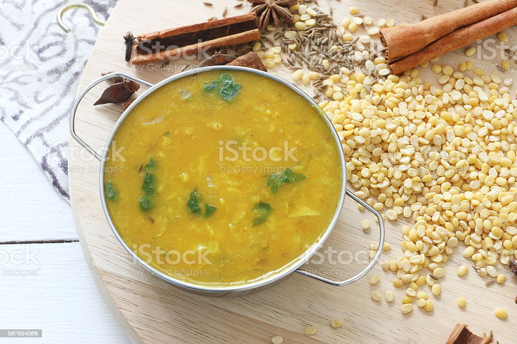 Nepali dhal/lentil soup stock photo