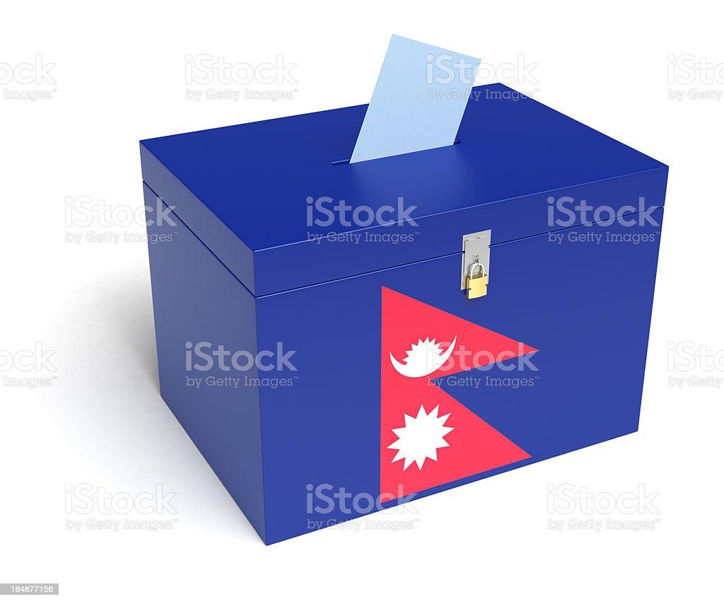 Nepali Flag Ballot Box stock photo