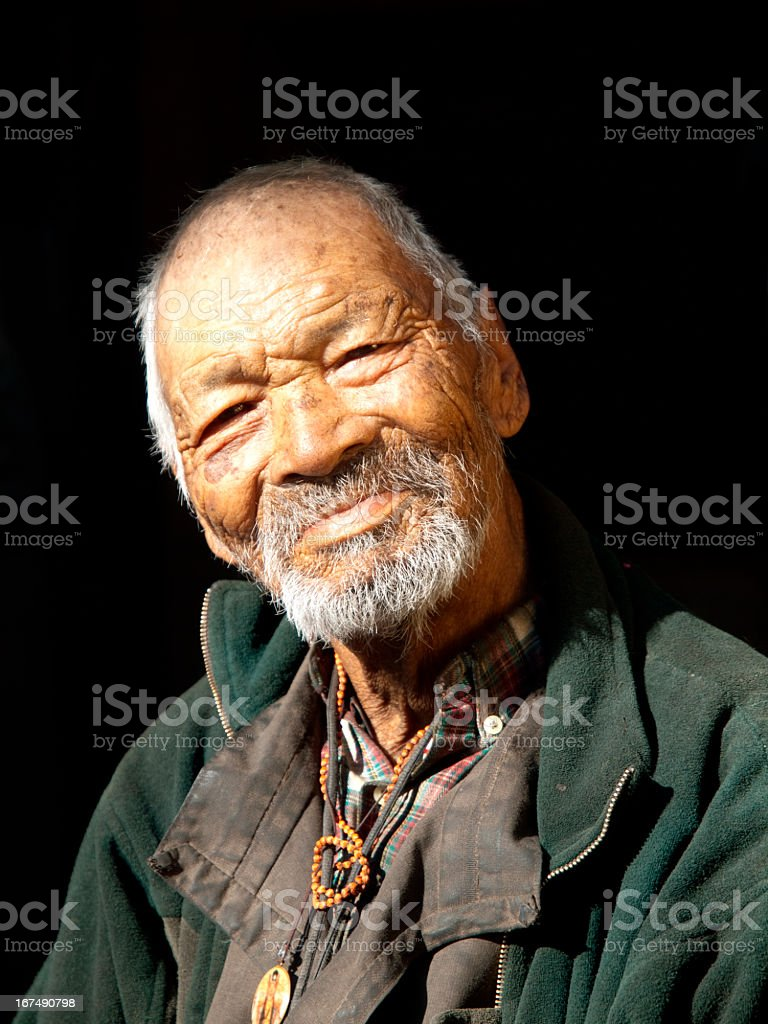 Nepali old man royalty-free stock photo