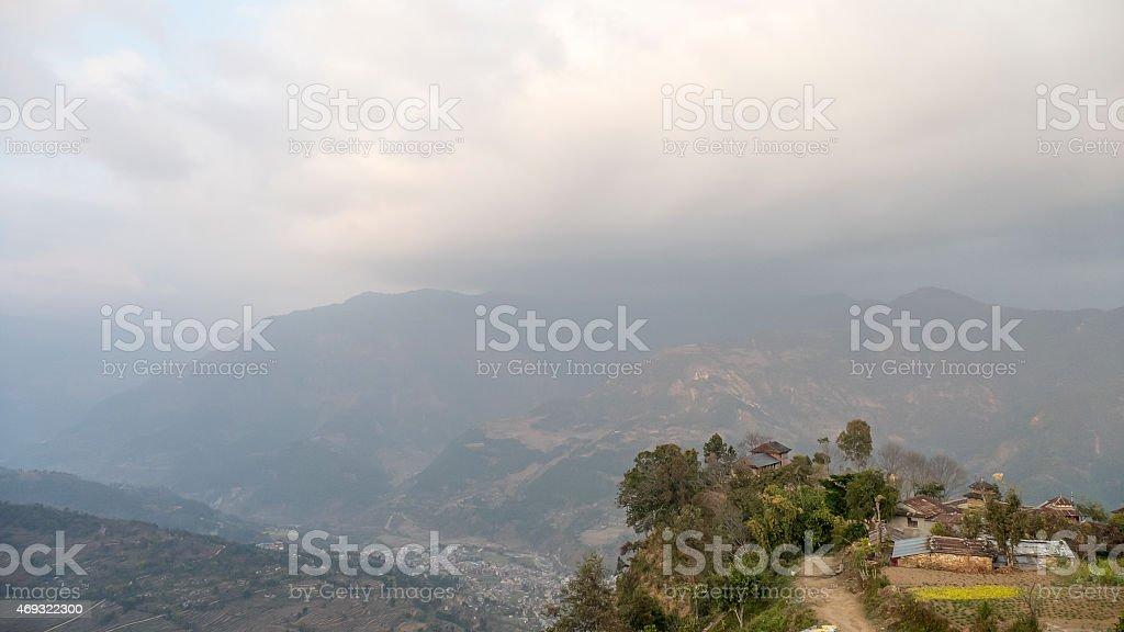 nepali village stock photo