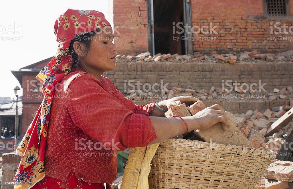 Nepali Woman Working royalty-free stock photo