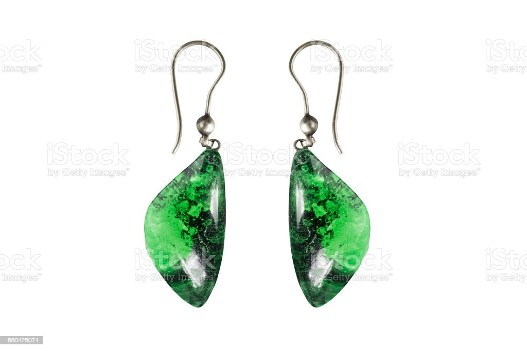Nephrite earrings isolated stock photo