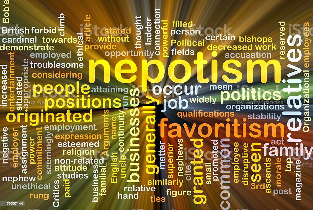 Nepotism background concept glowing stock photo