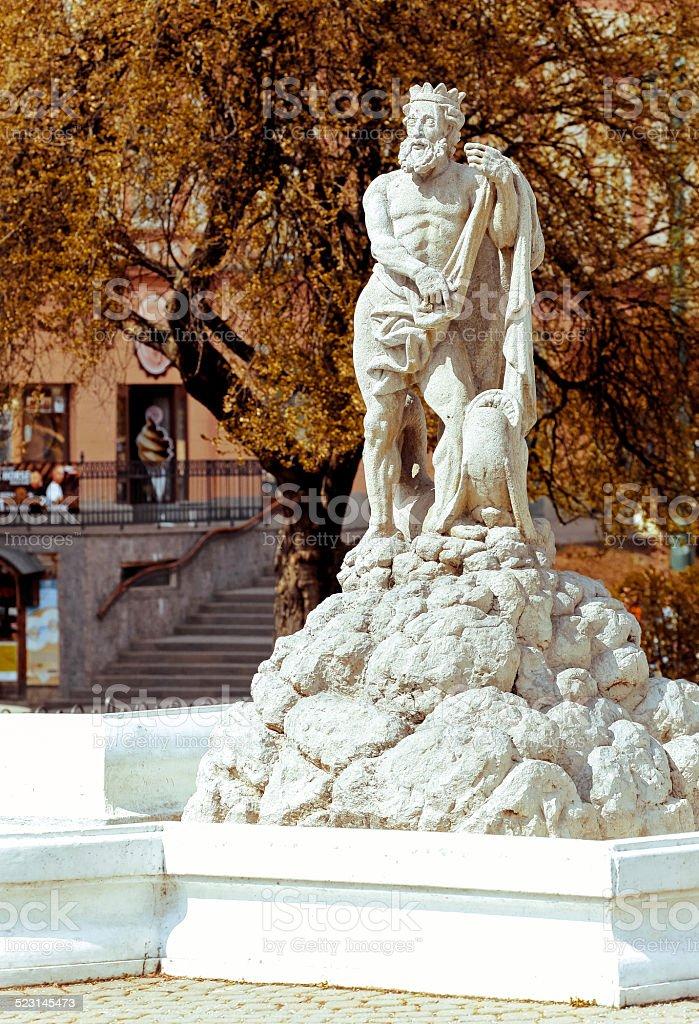 Neptun fountain at city Presov, Slovakia stock photo