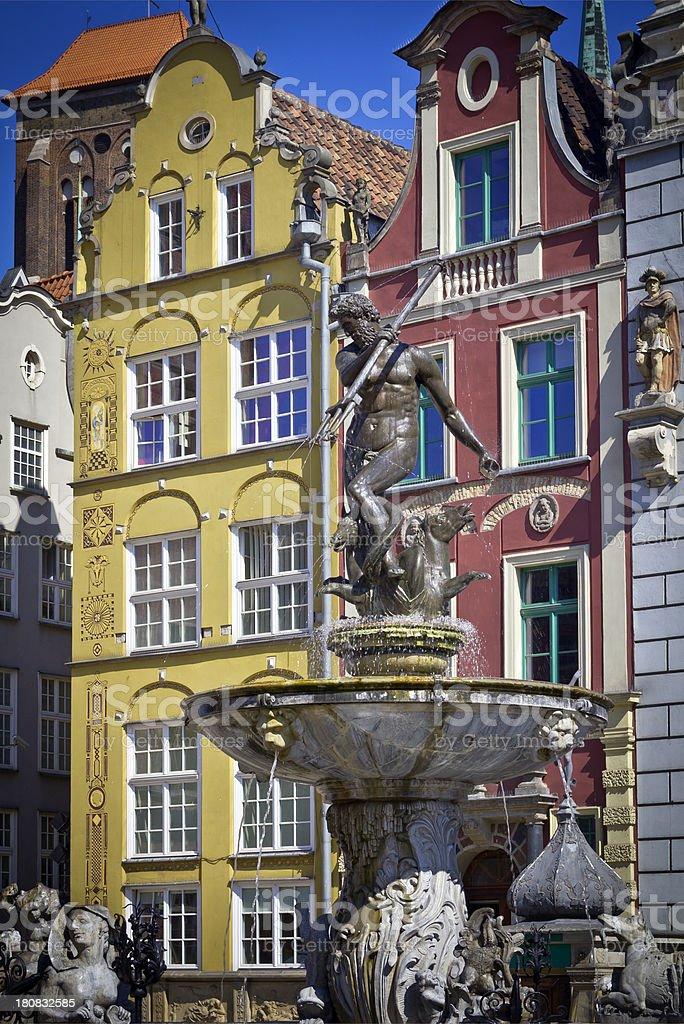 Neptun Fountain, Gdansk, Poland stock photo