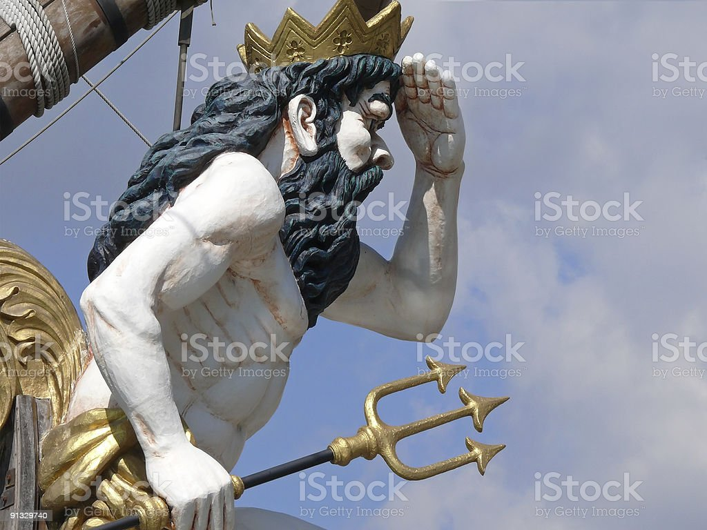 Neptun statue with trident stock photo