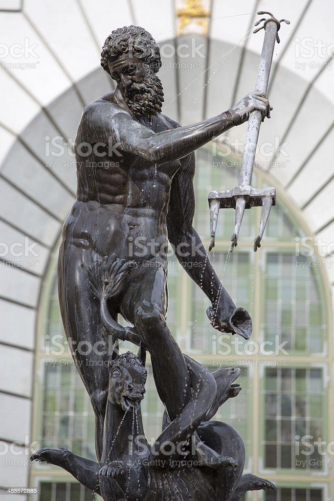 Neptune, bronze statue: the Roman God of Sea stock photo