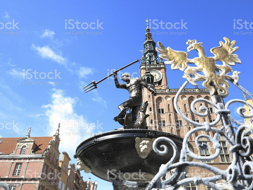 Neptune Fountain and city hall in Gdansk, Poland stock photo