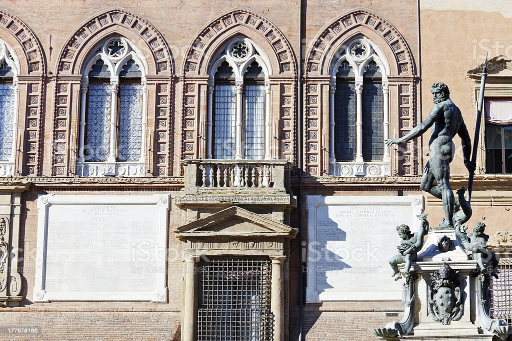 Neptune Fountain and wall of town hall in Bologna stock photo