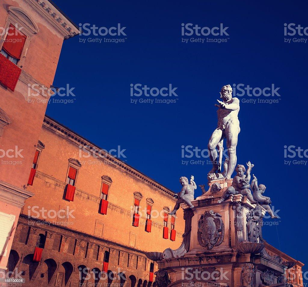Neptune fountain at dusk, Bologna, Italy stock photo