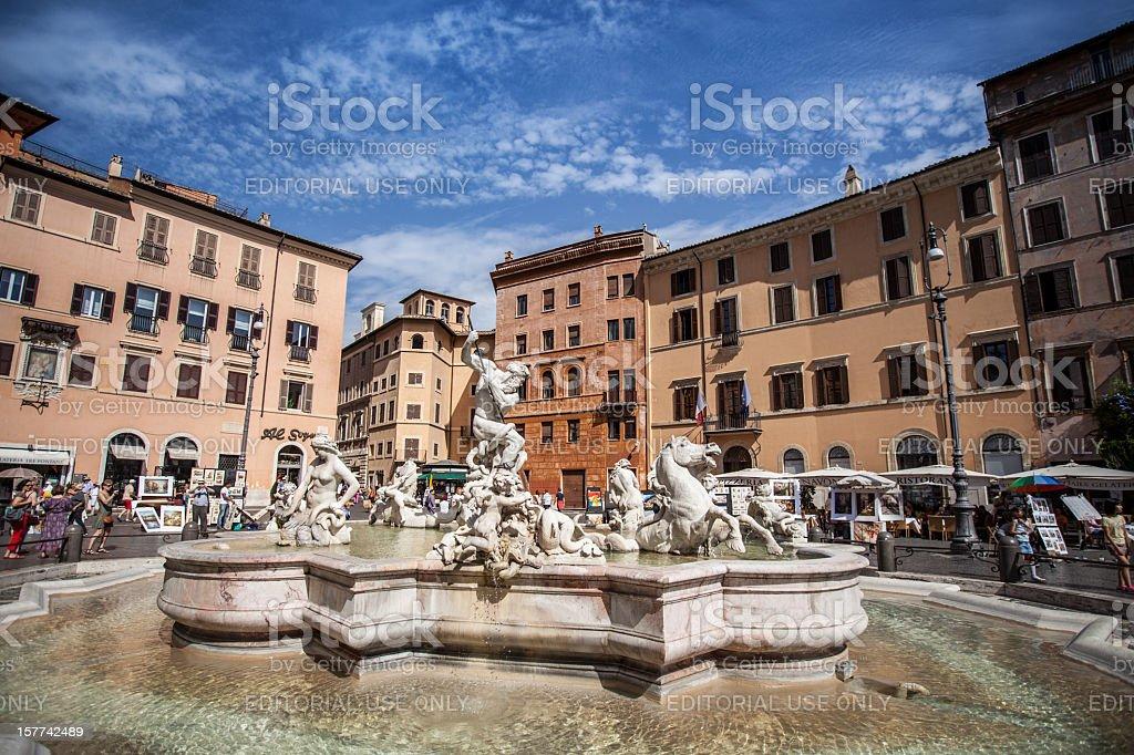 Neptune Fountain at Piazza Navona in Rome stock photo