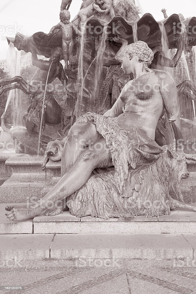 Neptune Fountain by Begas, Alexanderplatz Square, Berlin royalty-free stock photo