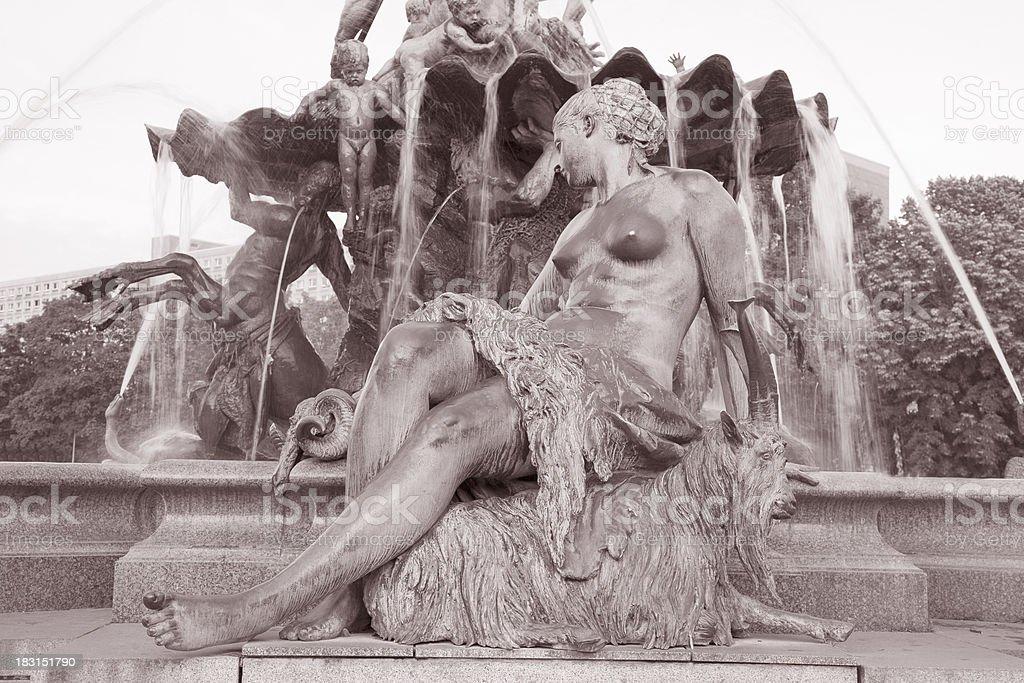 Neptune Fountain by Begas, Alexanderplatz Square, Berlin royalty-free stock photo